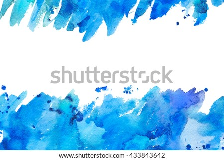 Frame from blue watercolor blotch.Abstract hand drawn illustration.Aquatic splash backdrop.