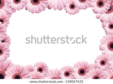 Frame from flowers necklace, isolated on white background - stock photo