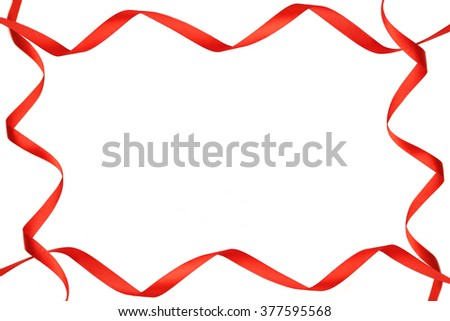 Frame Red Ribbon Isolated On White Stock Photo (Royalty Free ...