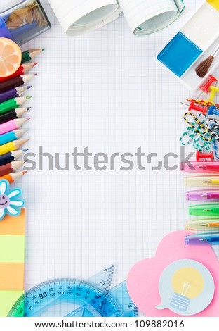 Frame from school accessories - stock photo