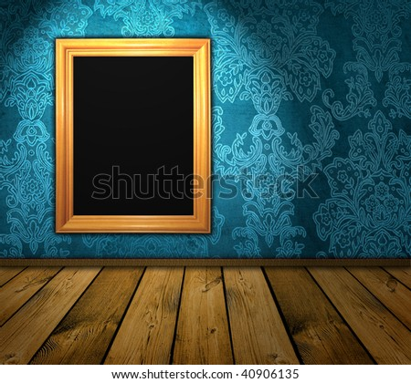 frame hanging on the wall of a dark vintage room - stock photo