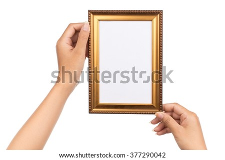 Frame in hand isolated on white background - stock photo