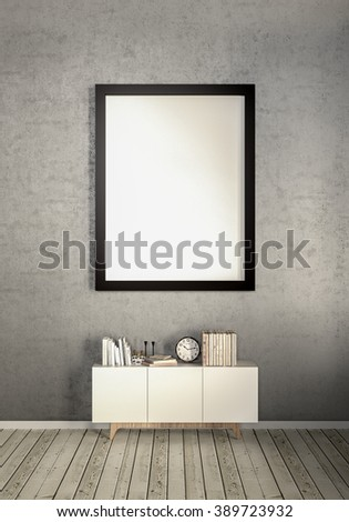 frame living loom interior background, 3D render