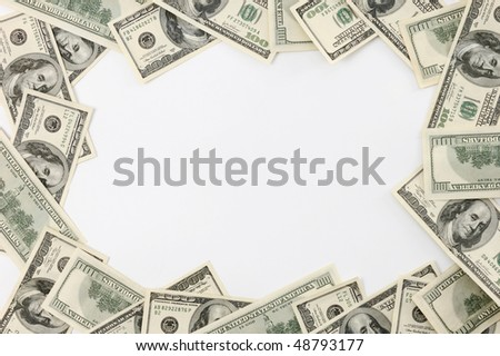 Frame made from dollar bills isolated on white background - stock photo