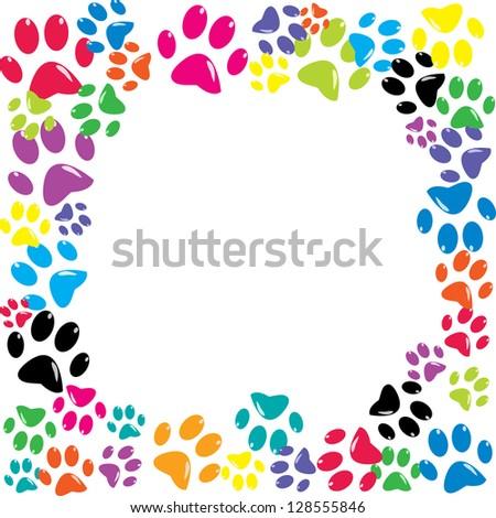 Frame made of animal paws - stock photo