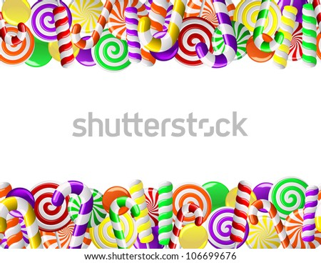 Frame made of colorful candies. Seamless pattern - stock photo