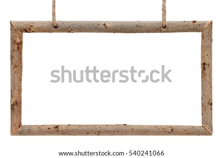 Frame made of dry tree branches with rope isolated on white background
