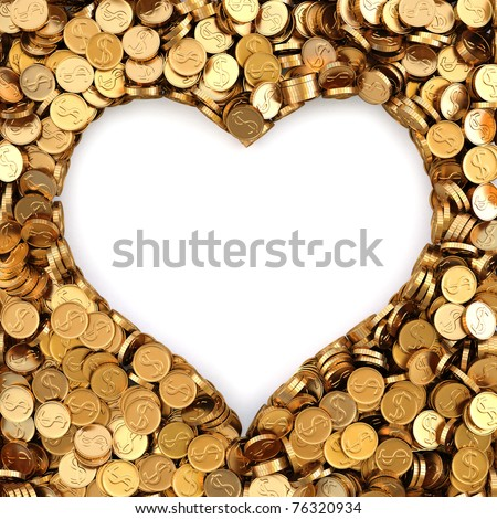 frame made of gold coins in the shape of heart - stock photo