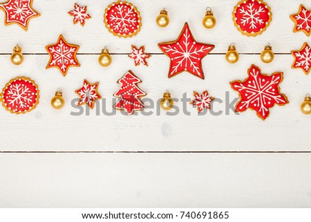Frame Made Homemade Christmas Gingerbread Cookies Stock Photo ...