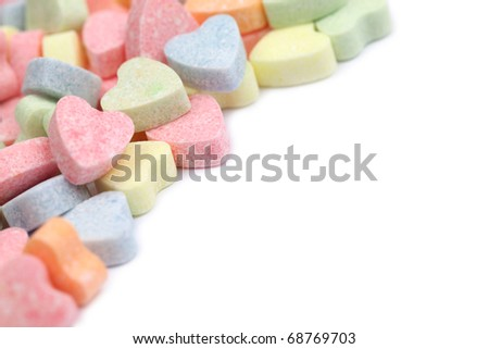 Frame made of little colorful candy hearts - stock photo