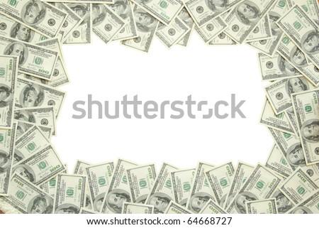Frame made of money isolated on white background - stock photo