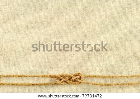 frame made of ropes with a canvas of burlap - stock photo