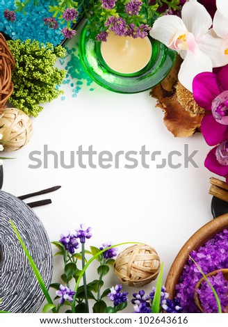 Frame made of spa accessories - stock photo