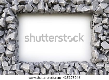 frame made of stones. isolated on white background. 3D illustration. - stock photo