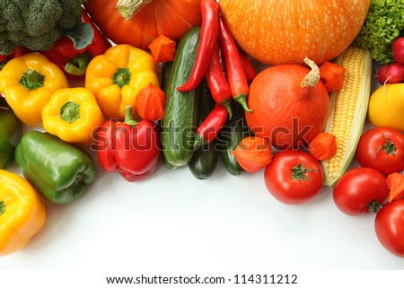 Frame made with an autumn colorful vegetables