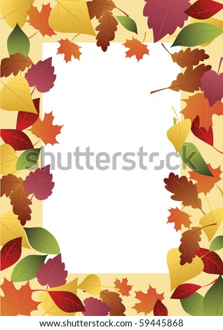 Frame of colored autumn leaves