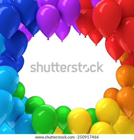 Frame of colorful balloons - stock photo