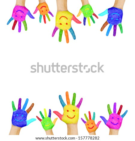 Frame of colorful hands painted with smiling faces. Fun, joy, happiness and good cheer. Baby, child and adult hands, ready for your logo, text or symbols. Joyful party. Isolated on white background - stock photo