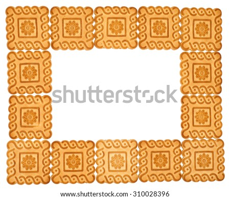 frame of cookies isolated on white background