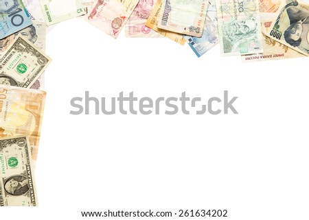 Frame of different banknotes isolated on white - stock photo