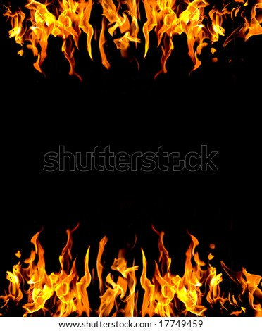frame of fire burning on two sides - stock photo