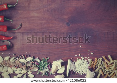 frame of food ingredients. Frame of useful food, space for text. View from above - stock photo