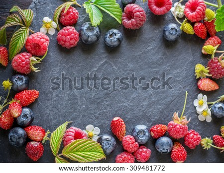 frame  of fresh  wild berries with green  leaves with copy space  on black  background. Selective focus - stock photo