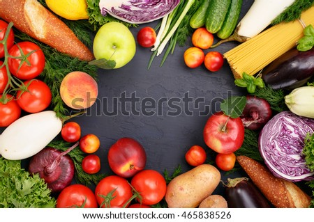 Frame of healthy various food on dark surface, top view. Food background