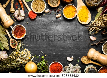 Frame of Indian spices and herbs. On the black chalkboard.