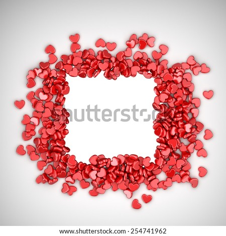 Frame of love hearts 3D. Valentine's day, isolated - stock photo