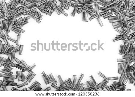 frame of many springs on white background - stock photo