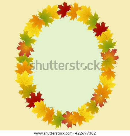 frame of maple leaves oval
