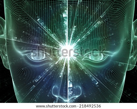 Frame of Mind series. Abstract design made of human head wire-frame and fractal elements on the subject of brain, mind, reason, intuition, inner energy and mystic consciousness - stock photo
