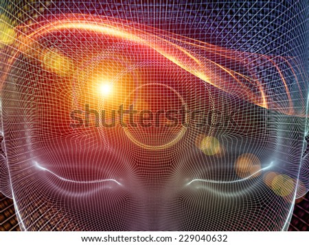 Frame of Mind series. Artistic background made of human face wire-frame and fractal elements for use with projects on mind, reason, thought, mental powers and mystic consciousness - stock photo