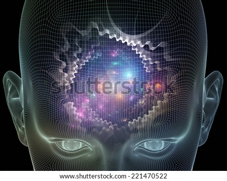 Frame of Mind series. Backdrop of human face wire-frame and fractal elements on the subject of mind, reason, thought, mental powers and mystic consciousness - stock photo