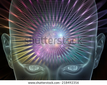 Frame of Mind series. Composition of human face wire-frame and fractal elements on the subject of brain, mind, reason, intuition, inner energy and mystic consciousness - stock photo