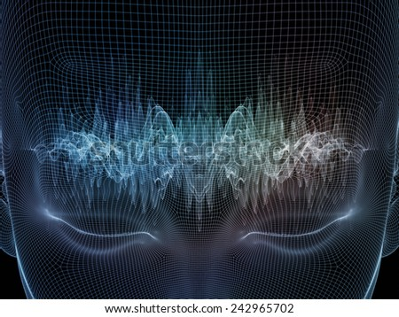 Frame of Mind series. Composition of  human face wire-frame and wave elements to serve as a supporting backdrop for projects on mind, reason, thought, mental powers and mystic consciousness - stock photo