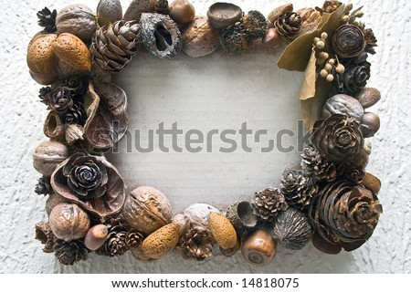 Frame of mixed nuts - stock photo