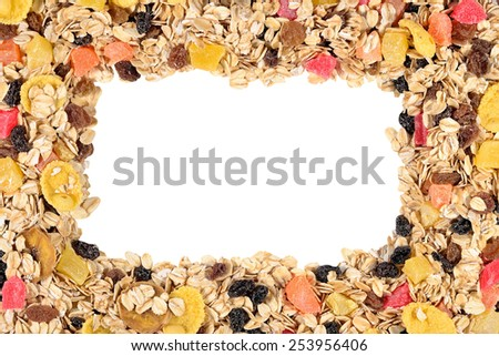 Frame of musli on a white background  - stock photo