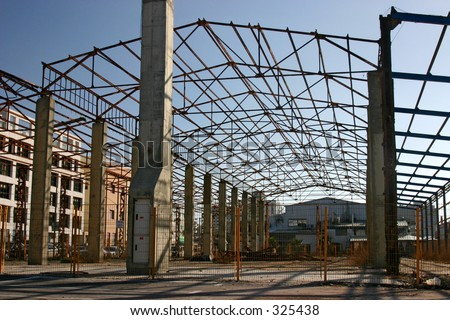 Frame of old industrial building - stock photo