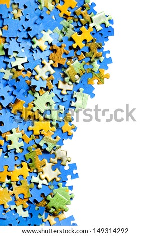 Frame of puzzle  pieces - stock photo