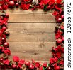 Frame of red poinsettia.image of Christmas. - stock photo