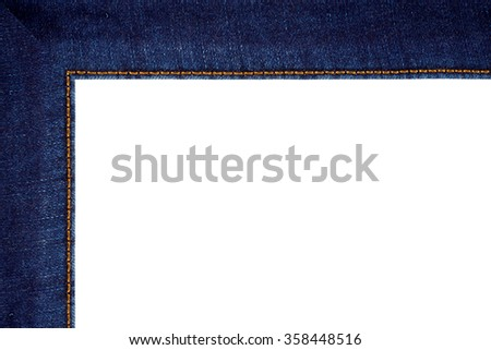 Frame of stitched blue jeans isolated on white background