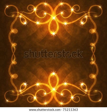 frame of the burning elements, abstract background - stock photo