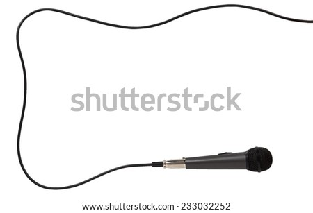 Frame of the microphone with cord isolated on white background - stock photo