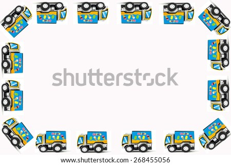 Frame of Toy cars. Ice Cream Toy Truck, white background - stock photo