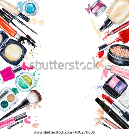 Frame of various watercolor decorative cosmetic. Makeup products, beauty items, mascara, lipstick, foundation cream, brushes, eye shadow, nail polish, powder, lip gloss. Hand drawn makeup cosmetics - stock photo