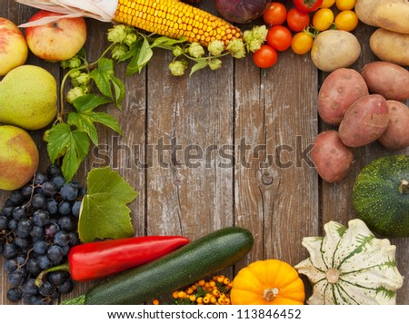 frame of vegetables and fruits/harvest/autumn - stock photo