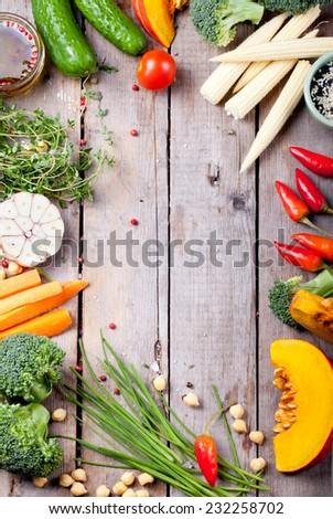 Frame of vegetables, herbs. Harvest, autumn background. Copy space. Vertical - stock photo