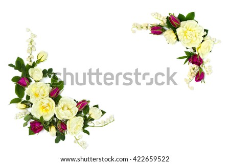 Frame of white and red roses (Burnet double white, shrub rose) and lily of the valley on a white background with space for text. Flat lay - stock photo